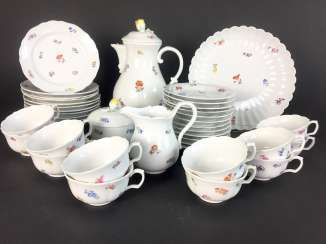 Tea Service, Meissen porcelain, New cutting, decor, scattered flowers, circa 1910, perfectly!
