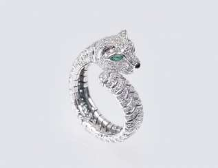 Ring clip with diamonds 'Panther'