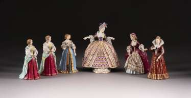 COLLECTION OF SIX COURT LADIES IN THE SÈVRES STYLE