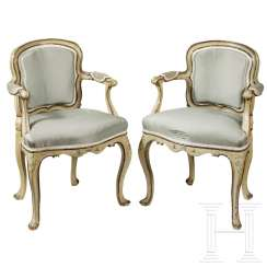 A pair of extraordinary rococo armchairs for children, Italy, 18th century