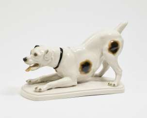 The Rottweiler in the commencement position. Black Burger workshops for porcelain art, white Creek, to 1918, Arthur Storch