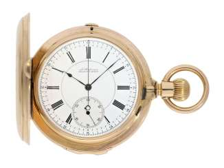 Pocket watch: extremely rare and particularly severe gold savonnette minute repeater and Chronograph, Louis Audemars, No. 13368, CA. 1882