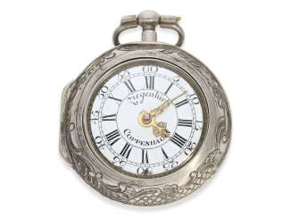 Pocket watch: exceptional and very rare, early German-Danish double case repoussé technology Spindeluhr to 1720, Ernst Nicolai goats Copenhagen No. 201,1 shepherd. Master in Copenhagen, originally from Uelzen, Northern Germany, native, recorded from 1692