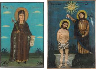 TWO LARGE ICONS: SAINT PARASKEVA AND THE BAPTISM OF CHRIST