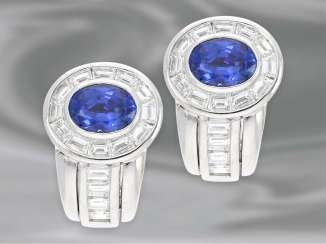 Earrings: extremely valuable and extremely beautiful sapphire/diamond stud earrings, very expensive hand work, 7,64 ct, unworn. NP 12900,-€