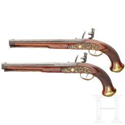 A pair of flintlock pistols, Meckel in Schwerin, around 1730 and later