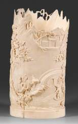 Large ivory brush Cup with landscape decoration