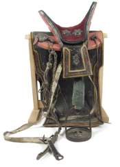 SADDLE WITH WOODEN STAND,