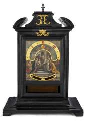 Exceptional night clock in ebonised case. Name Gio Antoninj, Rome, 18. Century