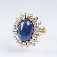Vintage Saphir-Brillant-Ring
