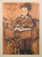 Girl and Puppet Sitting at a Desk Oil on paper.
