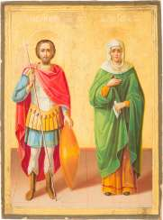 ICON WITH SAINT THEODORE STRATILATES AND ELISABETH