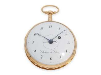 Pocket watch: rare, fine red gold pocket watch with and date, Robert & Droz No. 7704, La Chaux de Fonds, CA. 1800