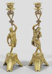 Pair of sculptural candlesticks