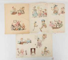CARL FELIX OF simple resentment, FUNNY IMAGES, watercolor/paper, signed, C. 1885.