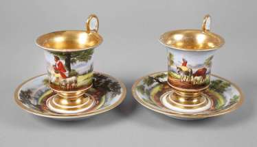 Pair of Biedermeier cups with pastoral scenes