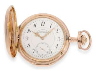 Pocket watch: very rare A. Lange & Söhne pocket watch with a Louis XV, gold case, No. 51519, Glashütte CA. 1902, with the master excerpt from the book