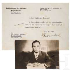 Joseph Goebbels - autograph on photo postcard, with letter from 1935