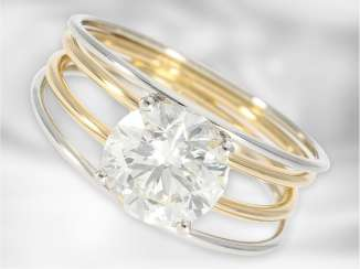 Ring: extremely valuable, modern and individually designed diamond/solitaire-gold forged ring, 2,49 ct, VVS, current DPL Expertise