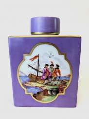 Large Caddy: Meissen Porcelain. Kauffartei Scene / The Port Of The Prospectus. Gold ornaments, very good.