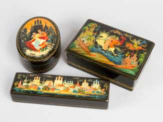 Three Russian Lacquer Boxes