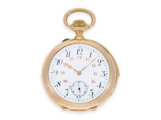 Pocket watch: exquisite red-gold pocket watch with minute repeater, top caliber, probably Le Sentier (Vallée de Joux), CA. 1900