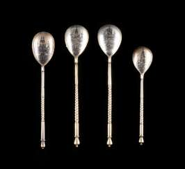 FOUR VINTAGE SIAM STERLING SILVER SPOON WITH MOSCOW'S VIEWS