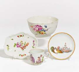 Cup with allegory, saucer, bowl, bowl