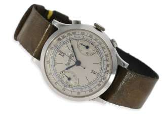 Watch: very early, big Eberhard Chronograph in steel, CA. 1938