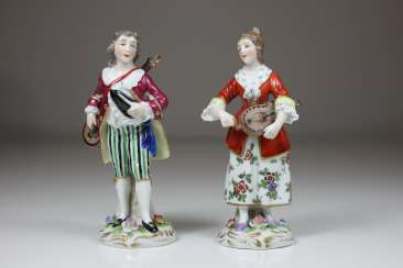 Miniature figures of a violin player and a mandolin player, Fasold & Stauch