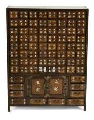 Two-door medicine Cabinet from wood with 74 drawers