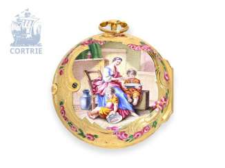 Pocket watch: very fine Gold/enamel Spindeluhr with Genre-painting, CA. 1760, signed Mely Paris