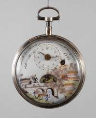 Spindle pocket watch with automaton