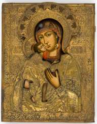 Very large icon of the mother of God Feodorovskaja with hand-driven Messingoklad