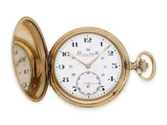 Pocket watch: precision Anke's watch from IWC Schaffhausen, gold savonnette No. 671617, CA. 1916