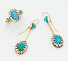 Turquoise diamond set: earrings and ring