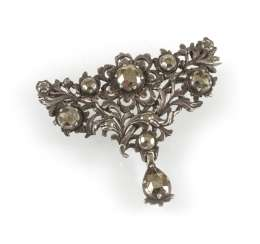Brooch With Marcasite Trim,