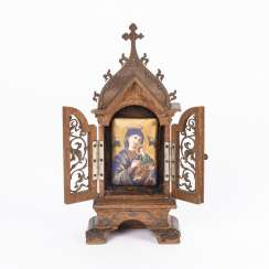Small house altar with porcelain picture