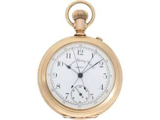 Pocket watch: heavy, rose-gold-plated split-seconds Chronograph