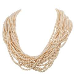 Necklace made from 15 rows of Akoya pearls with a jewelry clasp,