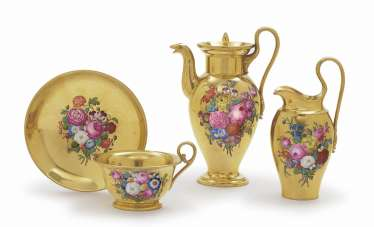 Mocha pot, cream jug AND CUP WITH saucer Nymphenburg, 1. District 19. Century, flower painting probably by Johann rice