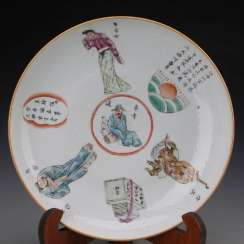 Colorful porcelain plate in the late Qing Dynasty