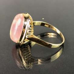Women's ring with rose quartz. Yellow gold 585. Very nice.