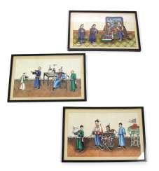 Drei Reisblattmalereien mit figürlichen Szenen