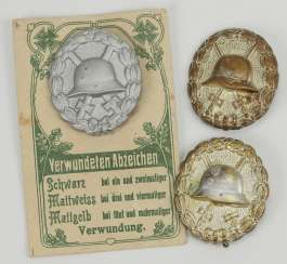German Empire: Wounded Badge, 1918, Matte White, 3 Specimens.