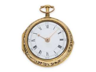 Pocket watch: very fine English double housing-spindle pocket watch with quarter repeating repoussé technology-housing