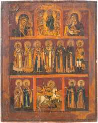 LARGE MORE FIELDS ICON WITH THE HADES JOURNEY OF CHRIST, GRACE, IMAGES OF OUR LADY AND THE SAINTS