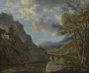 Adam Pynacker, Mountainous River Landscape with Stone Bridge Signed lower left.