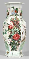 Large Famille rose baluster vase with appliqués