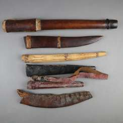 Mixed lot of wood and leather sheaths for East Asian edged weapons